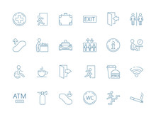 Navigate Symbols. Public Pictogram Of Restaurant Place Elevator Washroom Restroom Toilet Wifi Vector Icon Collection. Navigate Airport, Luggage And Swaddle, Extinguisher And Wc Illustration