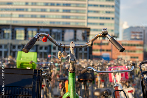 Photo bicycles and bells in Amsterdam, Holland