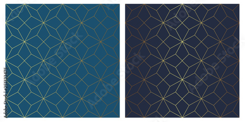 Golden vector seamless star pattern on blue background