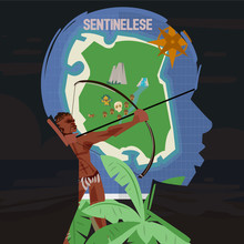 North Sentinel Island Map In Sentinelese Face Shilluate. Missing People Concept - Vector