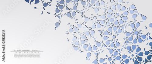 Valokuva  Modern arabesque floral cold pattern arabic background template vector