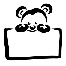 Little Cute Teddy Bear Holding A Blank Rectangular Plate