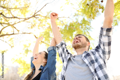 Photo  Excited couple celebrating success raising arms in a park