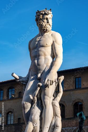 Fototapeta Statue of the Neptune - Roman God - Florence Italy