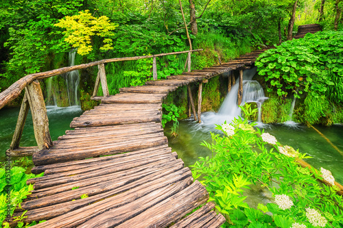 Printed kitchen splashbacks Road in forest beautiful waterfalls in Plitvice Lakes National Park, Croatia