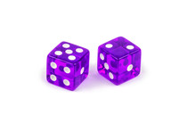 Two Purple Glass Dice Isolated On White Background. Five And Two.