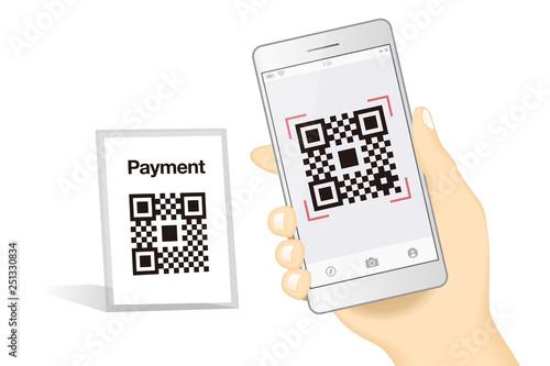 スマホ決済qrアプリのスマートフォンを持つ手イメージイラスト素材