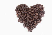 Heart Shape With Stack Of Coffee Beans