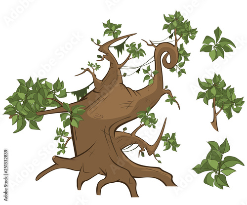 Set of Vector Cartoon Illustration.A Different Trees for a Computer Game and you Design