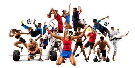 Huge multi sports collage taekwondo, tennis, soccer, basketball, etc