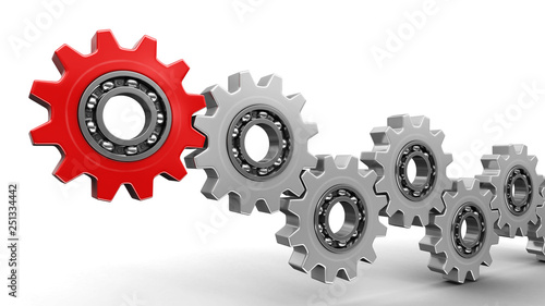Photo  Red and silver gears. Image with clipping path