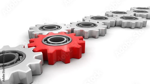 Red and silver gears. Image with clipping path Wallpaper Mural