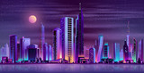 Fototapeta City - Metropolis night skyline with illuminated skyscrapers, cottage houses or public buildings on city quay shore and full moon in starry sky neon cartoon vector illustration. Urban architecture background