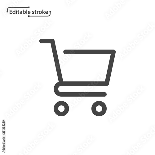 Slika na platnu Shopping cart line icon. Editable stroke.