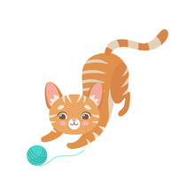 Striped Funny Red Cat Playing With Ball Of Yarn, Cute Kitten Animal Pet Character Vector Illustration