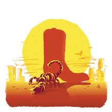Vector Illustration Of American Texas Desert With Cowboy Boot And Scorpion Islated On White