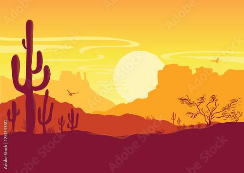 Plakaty do gabinetu wild-west-american-desert-vector-texas-prairie-landscape-with-sun-and-cacti