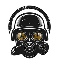 Helmet And Gas Mask, Radiation Protection. Vector Illustration.
