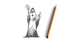 Magician, Wizard, Magician, Healer, Psychic Concept. Hand Drawn Isolated Vector.