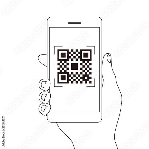 スマホ決済qrアプリのスマートフォンを持つ手線画イラスト素材 Comprar