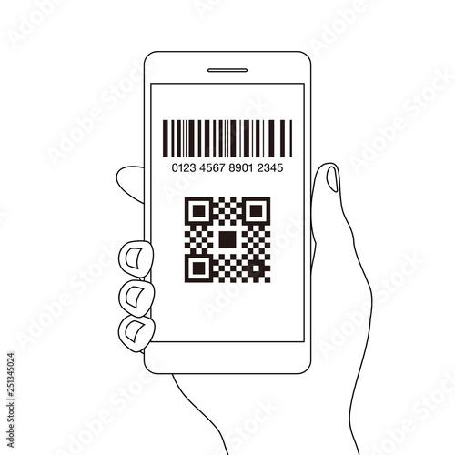 スマホ決済qrアプリのスマートフォンを持つ手線画イラスト素材 Buy