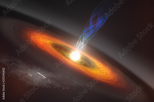 Abstract space wallpaper. Black hole with nebula over colorful stars and cloud fields in outer space. Elements of this image furnished by NASA. - 251345602