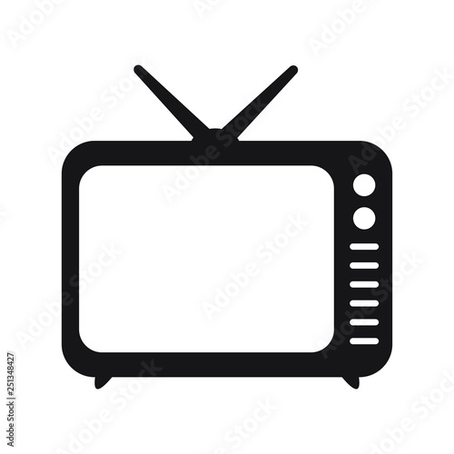 Photo  Retro TV icon in flat style, black and white retro TV icon, Vector illustration of Retro TV icon for you design
