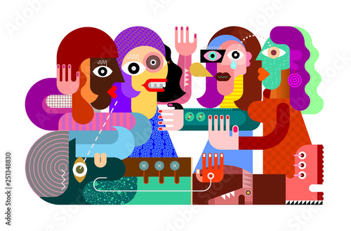 Poster Abstractie Art Four Women and One Man vector illustration