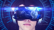 canvas print picture - Young man wearing VR headset and experiencing 3D virtual reality. Technology related digital earth network concept. 3D Rendering.