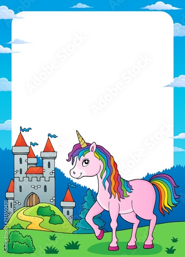 Unicorn near castle theme frame 1