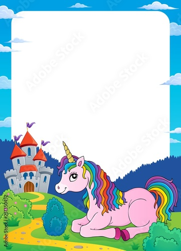 Unicorn near castle theme frame 2