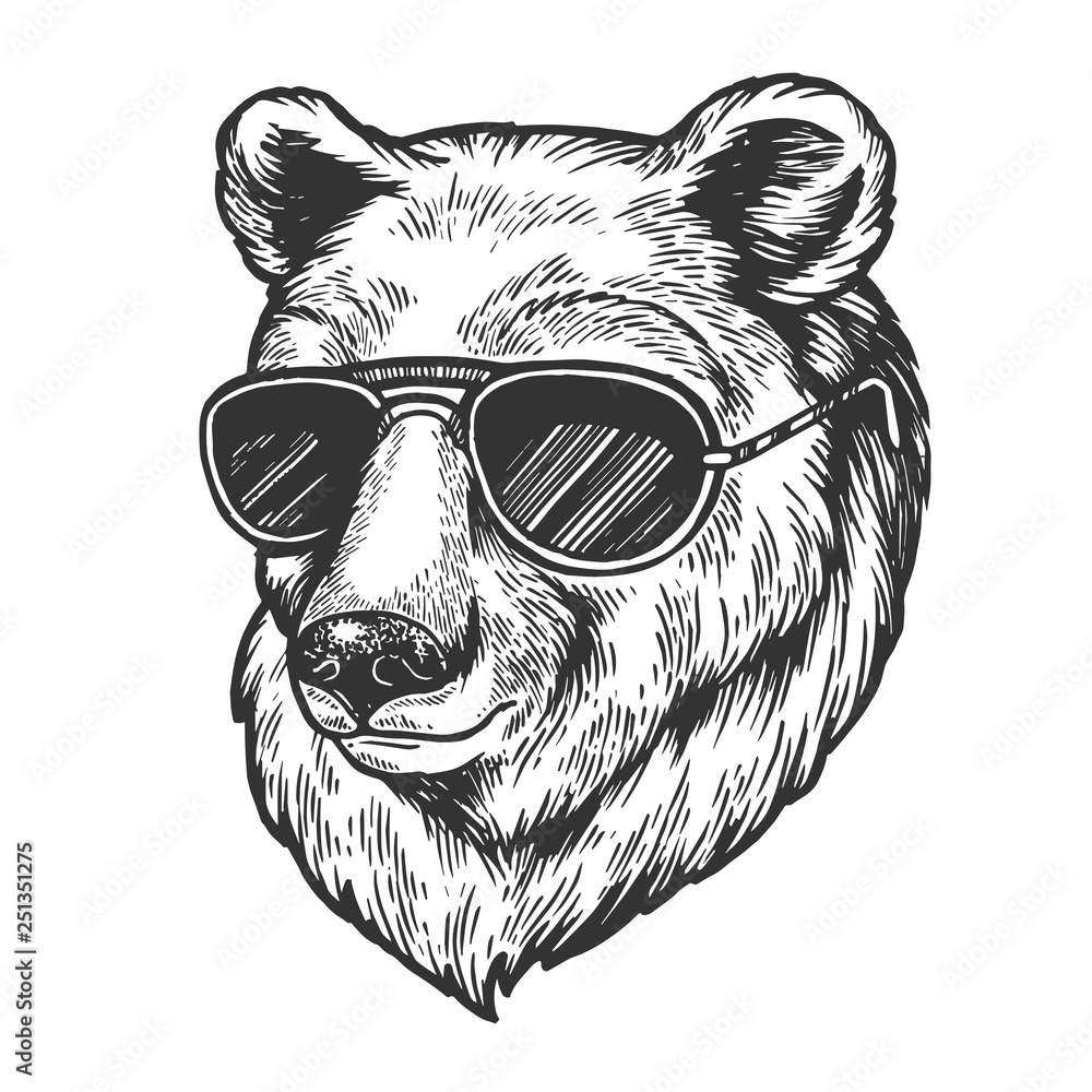 Fototapeta Bear animal in sunglasses sketch engraving vector illustration. Scratch board style imitation. Black and white hand drawn image.