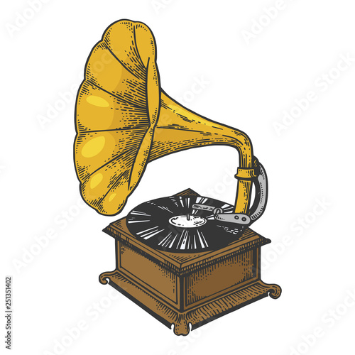 Old fashioned vintage gramophone phonograph color sketch engraving vector illustration Wallpaper Mural