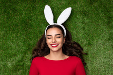 Dreaming Young Woman In Bunny Ears