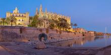 Palma De Mallorca - The Cathedral La Seu At Dusk.