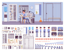 Police Station Office Interior Creation Kit With Policeman, Officer At Workspace Full Set To Build Your Own Design, Staff Working Area Constructor Elements. Cartoon Flat Style Infographic Illustration