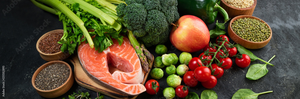 Fototapety, obrazy: Flat lay of healthy food. Selection of healthy eating fish, vegetables, beans, antioxidants and sources of omega 3. Healthy food for heart, diet and healthy lifestyle concept. Top view