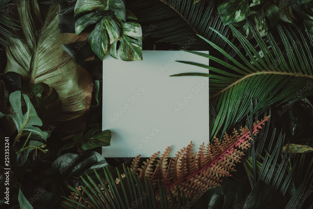 Fototapety, obrazy: Creative layout made of tropical leaves with paper card note. Flat lay. Nature concept.