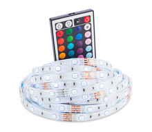 RGB LED Strip Light With Remote Control Electronics Isolated  In Front Of White Background