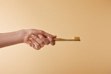 Cropped View Of Woman Holding Bamboo Brown Toothbrush On Beige Background
