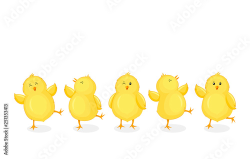 Little chicks cartoon set Fototapet