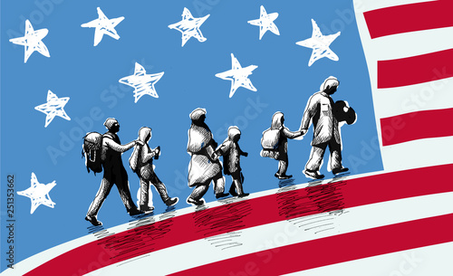 Illustration of USA immigration. Canvas Print