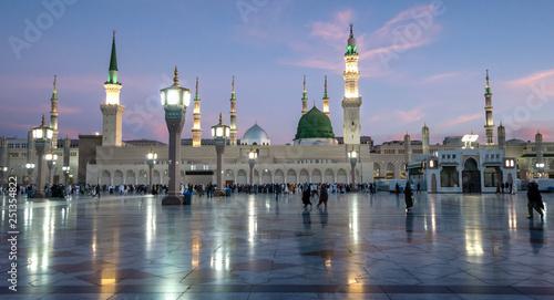 Muslims gathered for worship Nabawi Mosque, Medina, Saudi Arabia Canvas Print