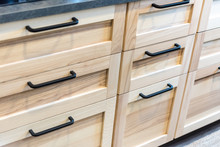 Drawer Cabinet Black Handle, Wood Grain