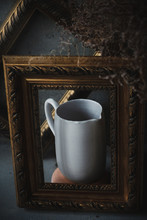 Side View Ceramic White Jar In Picture Frames Like On Painting