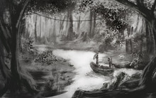 Digital Drawing Of Forest View With A Lake. Man And Woman With A Dog Travelling On A River In A Boat. Black And White Illustration Made In Traditional Sketch Style.