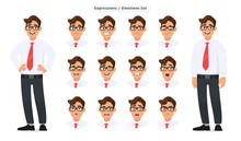 Set Of Male's Different Facial Expressions. Man Emoji Character With Various Face Reaction/emotion, Wearing Formal Dress, Tie And Eyeglasses. Human Emotions Concept Illustration In Vector Cartoon.