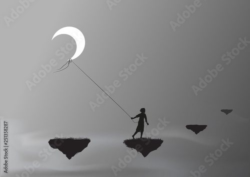 Fotografie, Obraz  boy pulling the moon and walking on a flying rock, steal the moon, wonderland, d