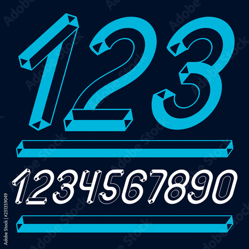 Trendy vintage vector digits, numerals collection  Retro