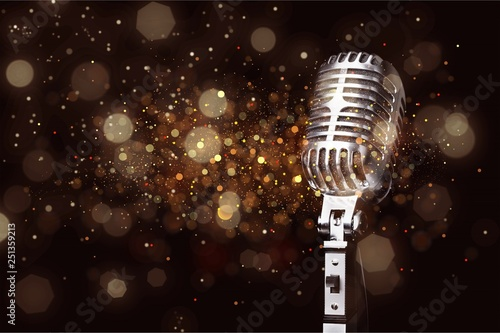 Mikrofon w stylu retro na tle